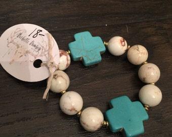 Turquoise and cream chunky bracelet