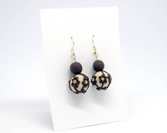 handmade earrings made from polymer clay - flowers ball Brown