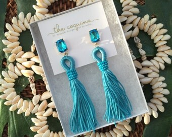 The Coquina: Ultra-light Turquoise Beaded Tassel Earring...Ships quickly from Sunny Florida!
