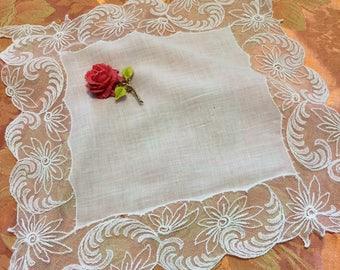 Antique Victorian lace handmade bridal wedding handkerchief hanky