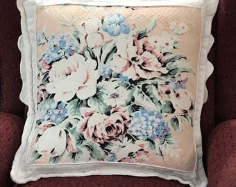Handmade vintage pink herringbone nubby barkcloth 18 inch shabby cottage pillow
