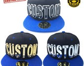Customize Acrylic Letters Hat, Black Hat With Blue Brim With Customize Letters