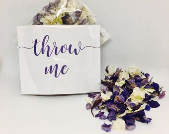Flower petal confetti - purple with off white petals - biodegradable - calligraphy 'throw me' packet - vintage weddings