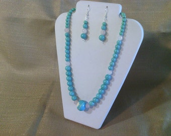 183 Awesome Magnesite Turquoise and Rose Quartz Beaded Necklace
