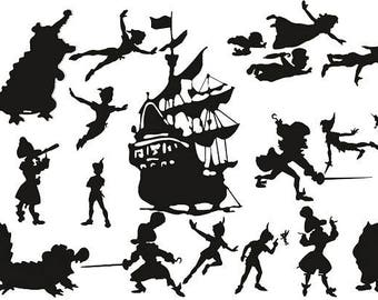 Peter Pan and Tinkerbell Die Cut Out Silhouettes - Hook, Ship, Tick Toc, . Great for fairy jar, cardmaking, scrapbooking, party bag fillers