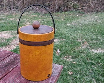 Vintage ice bucket, wood-look vinyl ice bucket marked Elmar Mfg