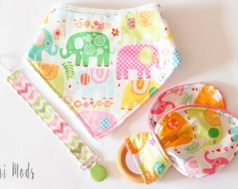 Baby Gift Set, Baby Shower Gift Set, Baby Girl Gift, Baby Elephant, Bibs & Burping, Dummy Clips, Girls, Pink, Teether, Dummy Clip, UK Seller