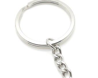 "500 pcs Keychain Split Ring 1-1/4"" 32mm with Extender Chain Key Ring Heavy Duty"