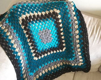 One of a kind Handmade Granny Square baby blanket, crochet blanket