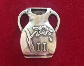 Antique sterling silver flower vase brooch pin