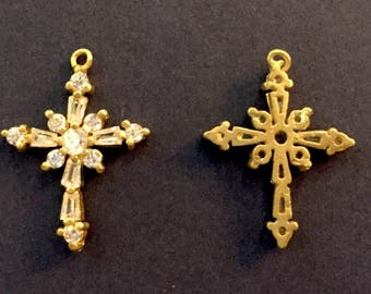 Cross Pendant/ without Polished. Brass with CZ Pendant / 5pc/ 17-135