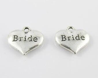 Bulk Bride Heart Charm Pendant Wedding 14x15mm Select Qty