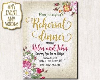 Rehersal dinner invitation, Rehersal dinner party, Spring flowers invitation, Spring invitation, Gold glitter ANY AGE-1610
