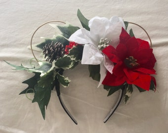 Poinsettia and Holly Floral Wire Ears - Perfect for a Christmas Party with Minnie and Mickey! *Made to Order*
