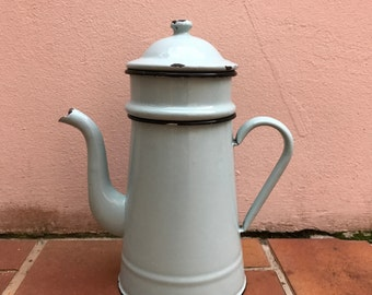 Vintage French Enamelware light blue green Enamel Coffee Pot