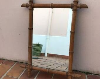 Vintage French Mirror, Sunburst, Starburst, faux bamboo, 1960's