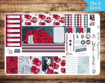 Mini H Planner Red Rose Weekly Planner Stickers #60}