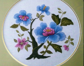 Japanese Blue Peony Tree-Crewel Embroidery kit from The Needlewoman's Studio