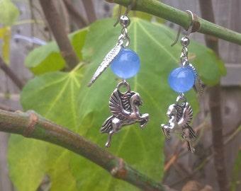 SALE winged horse earrings, Pegasus earrings, flying horse earrings, mythical earrings, fantasy earrings, dangle earrings, drop earrings