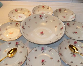 Vintage 9 pc Rosechintz Dessert Set Serving Bowl 8 Dessert Bowls Meito Japan