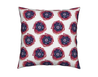 POPPY POP PILLOW  | White & Pink | Custom Design Fabric | 18X18 | 18x12 | A Portion of Proceeds go to Charity