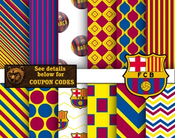 Barcelona digital paper, soccer, futbol, download, background, scrapbook, papers