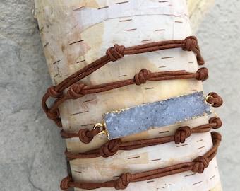 Druzy quartz and leather wrap bracelet
