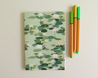 Patterned A6 Notebooks - Lined Paper - Green - Waterlilies - Tiana - Florals - Back to School - Pocket-sized