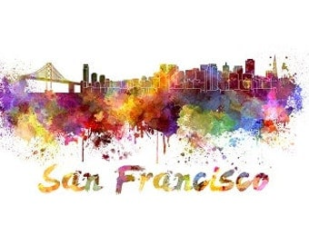 San Francisco skyline watercolor canvas, San FranciscoCanvas Print, San Francisco wall art, Canvas Wall Art, Watercolor Skyline, Gift Ideas