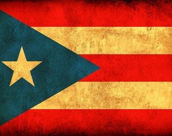 Puerto Rico Flag on Canvas, Puerto Rico,  Flag, Wall Art, Puerto RIce Photo, Puerto Rico Print, Fine Art, Single or Multiple Panels