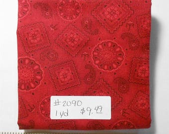 Fabric - 1yd piece-Red Bandana/Red color-Cotton Fabric/Western/Paisley/Outdoors/Rustic/Cowboy/Cowgirl (#2090) Round Up Debbie Mumm