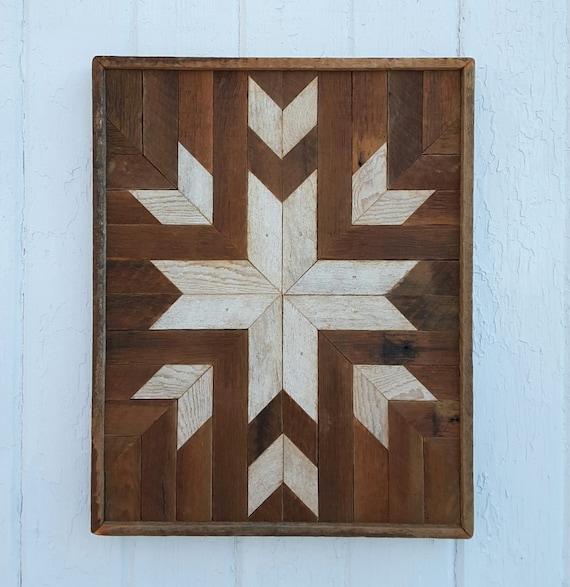 Reclaimed wood wall art decor quilt block design lath art for Design divas wall art