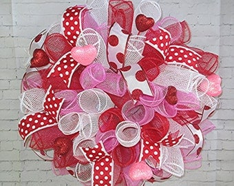 Free Shipping! Valentine's Day Wreath, White, Red, Pink, Deco Poly Mesh, Holiday, Door, Room Decor