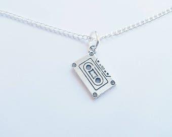 Handmade Silver Cassette Tape Necklace - Silver Plated Chain, Cassette Charm, Cassette Tape Pendant, 60's, 70's, 80's, 90's Vintage, Retro