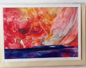 The Golden Sky: Encaustic Wax Print Greetings Card