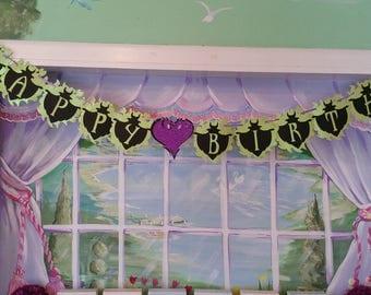 Descendant's Happy Birthday Banner- Descendants Party Decor-Mal Party-Evie Party!