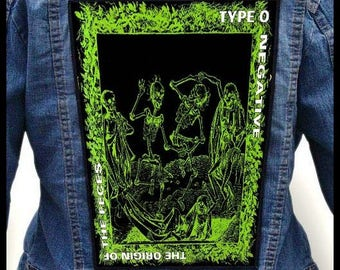 TYPE O NEGATIVE - The Origin of the Feces  --- Backpatch Back Patch / Danzig Carnivore Moonspell Woods of Ypres Paradise Lost Life of Agony