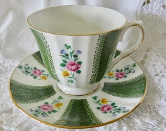 Duchess Bone China Footed Teacup and Saucer Green Bands and Floral Pattern