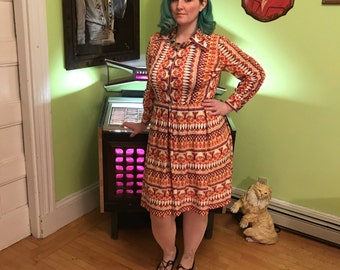 Vintage Donle Polyester  1960's Dress