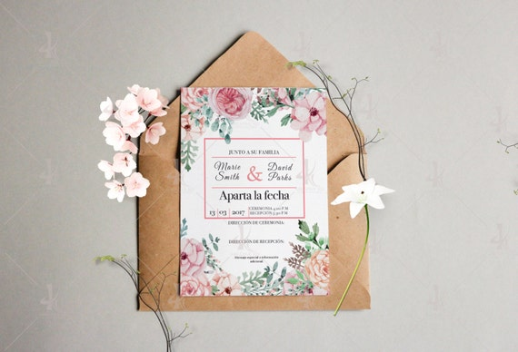 Water flower wedding invitation/One side-ready to print (digital file 11.5x14.5)