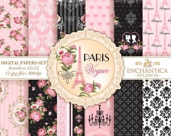 Pink and Black Digital Paper, Pink Roses Digital Paper, Floral Digital Paper, Roses Patterns, Pink Black Pattern, Shabby Chic Digital Paper