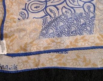 Vera Neumann blue gold scarf