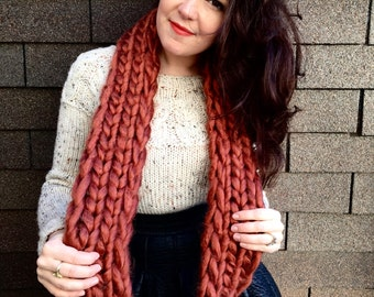 "Chunky Knit ""Queen West"" Scarf in *rust* - Infinity Scarf Cowl"