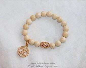 CC Gold Plated Inspired Pave Beaded Bracelet Vintage Focal Pave Cream Riverstone Stretchy Bracelet by Regina Harp Designs