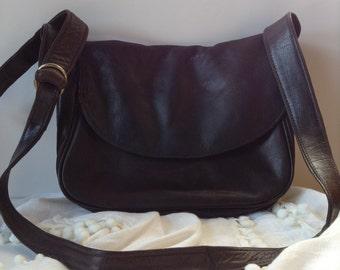 Vintage Carlos D'Santi Chocolate Brown Leather CrossBody/Shoulder Bag/Hobo