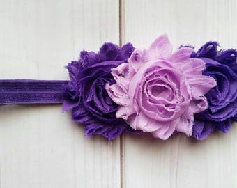 Purple Flower Headband/Infant Headband/Toddler Headband/Spring Headband/Summer Headband/Baby Girl Headband/Vintage Headband/Floral Headband