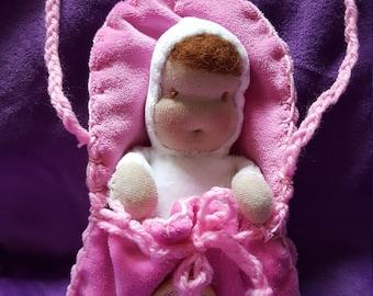 Waldorf doll, baby doll with newborn doll, dolls cradle purse pink, Waldorf-style dolls
