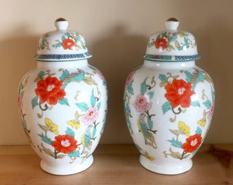 Wonderful Pair of Vintage Highly Decorated Ginger Jars with Lids Pink, Turquoise, Orange, White Stunning