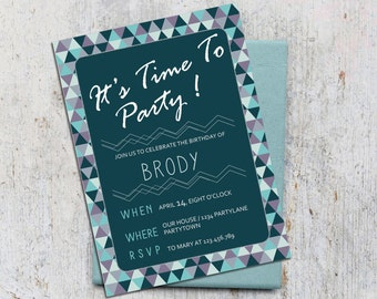 Boys Digital Invitation Birthday Time To Party with Thank you card Printable Blue birthday kids invitation card Triangles digital invitation