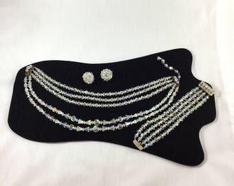 Vintage Crystal Necklace, Laguna Jewelry Set, Crystal Bracelet, Vintage Crystal Earrings, Vintage Laguna, Vintage Bride